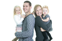 Happy young family isolated on white background Royalty Free Stock Images