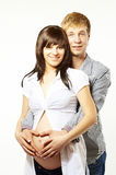 Happy young family in love, pregnant Stock Photo