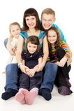 Happy young family with many children Stock Photo