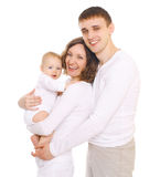 Happy young family with open smiles Stock Photo