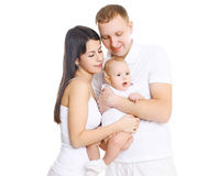 Happy young family, portrait of parents with cute baby Royalty Free Stock Image