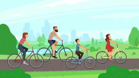 Happy young family riding on bikes at park. Parents and kids ride bicycles. Summer activities and families leisure stock illustration
