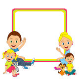 Happy young family sitting on the floor and frame Stock Photography