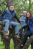 Happy young family sitting on a tree Royalty Free Stock Images