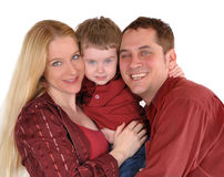 Happy Young Family Smiling on White Stock Photos
