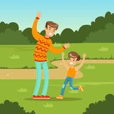 Happy young family and son playing games in city park. Parents with kids. Man and kid boy cartoon characters having fun. Loving family. Green nature landscape Stock Image
