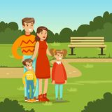 Happy young family spending time in city park. Parents with kids. Father, mother, son and daughter cartoon characters. Loving family. Green nature landscape Stock Image