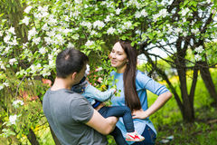Happy young family spending time together Royalty Free Stock Photo