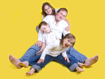 Happy young family - studio photo Royalty Free Stock Images
