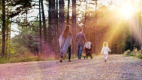 Happy young family taking a walk in a park, back view. Family holding hands walking together along forrest path with their daughte. R, father pushing the pram royalty free stock image