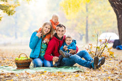 Happy young family with two boys Stock Photo
