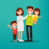Happy young family. Vector illustration. Of a flat design Stock Photography