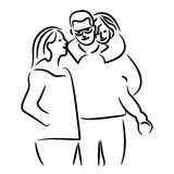 Happy young family. Vector illustration of a flat design Stock Image