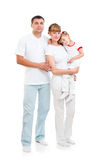 Happy young family on white background Stock Photos