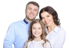Happy young family on a white background Royalty Free Stock Image