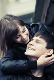 Happy young fashion couple in love Royalty Free Stock Images