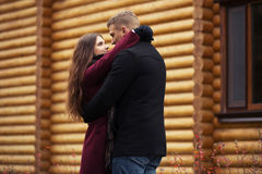 Happy young fashion couple in love outdoor Royalty Free Stock Photo