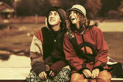 Happy young fashion couple outdoor Stock Photography