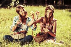 Happy young fashion girls with a fruit basket on nature Royalty Free Stock Photos