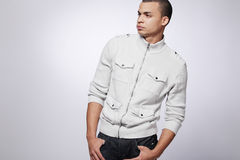 Happy young fashion male model. Royalty Free Stock Images
