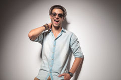 Happy young fashion man smiling to the camera Royalty Free Stock Photography