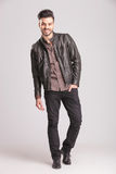 Happy young fashion man walking Royalty Free Stock Photography