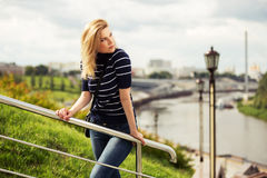 Happy young fashion woman outdoor Stock Photo