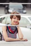 Happy young fashion woman in tank top outdoor Royalty Free Stock Photos