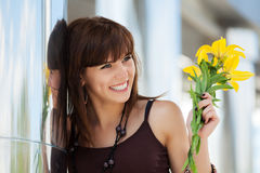 Free Happy Young Fashion Woman With A Flowers Royalty Free Stock Image - 34877826