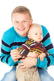 Happy young father with a baby isolated Stock Photo