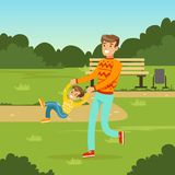 Father having fun with his little son. Happy young father having fun with his little son in city park. Parents with kids. Man and kid boy cartoon characters Stock Image