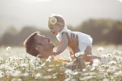 Happy father with little daughter playing in summer in a field of white daisies royalty free stock images
