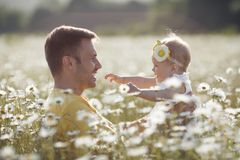 Happy father with little daughter playing in summer in a field of white daisies royalty free stock image