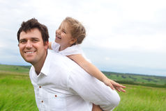 Happy young father with little daughter Stock Photos
