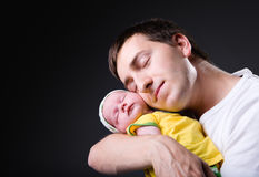 Happy young father and newborn girl royalty free stock image