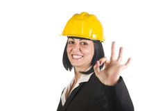 Happy young female architect Stock Photo