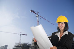 Happy young female architect Royalty Free Stock Photography