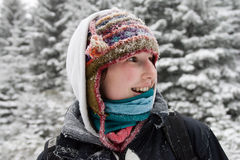 Happy young female, backpacking stock images