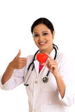 Happy young female doctor holding a beautiful red heart shape. Against white royalty free stock photography