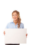 Happy young female holding blank banner royalty free stock image