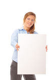 Happy young female holding blank banner royalty free stock images