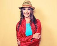 Happy young female model. smiling woman fashion style portrait. stock photos