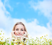 Happy young female over sky Stock Photography