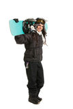 Happy Young Female Snowboarder Stock Photo