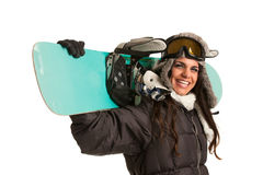 Happy Young Female Snowboarder Royalty Free Stock Images