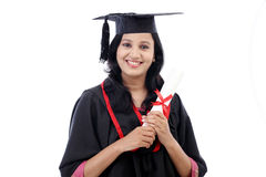 Happy young female student holding diploma Stock Photos