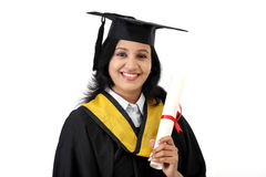 Happy young female student holding diploma Stock Photo