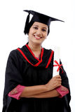 Happy young female student holding diploma Royalty Free Stock Image