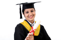 Happy young female student holding diploma Stock Photography