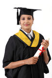 Happy young female student holding diploma Royalty Free Stock Photos